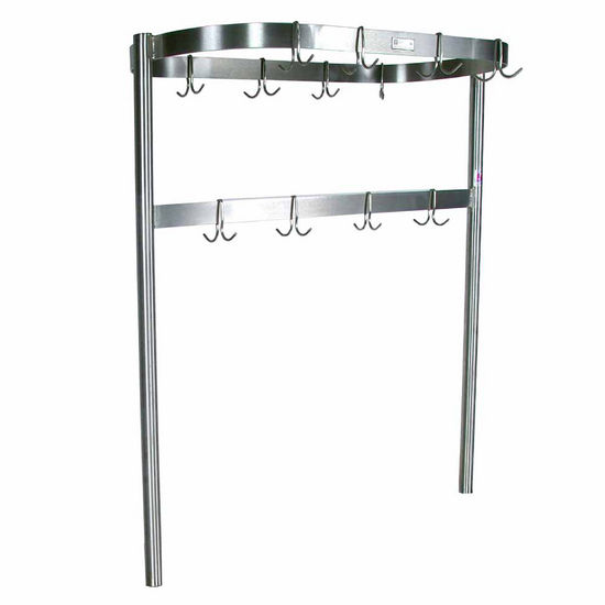 John Boos Oval Shaped Stainless Steel Pot Rack with Removable Hooks - Table Mount, Includes 9 Hooks