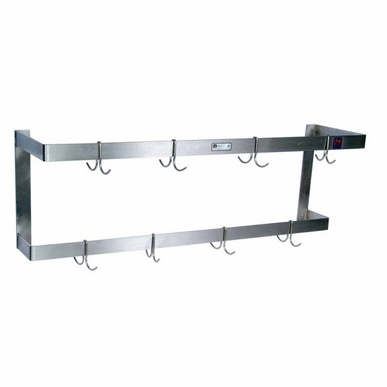 John Boos Double Bar Stainless Steel Pot Rack with Removable Hooks - Wall Mount, Includes 6 Hooks