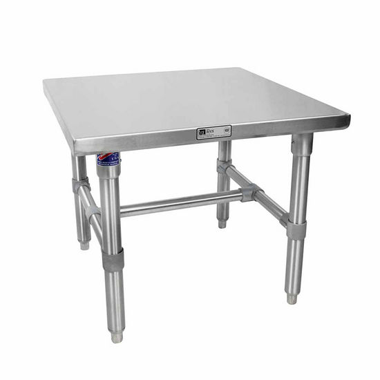 John Boos Machine Stands Stainless Steel Top Work Table w/ Galvanized Base & Bracing & Flat Top