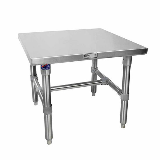 John Boos Machine Stands Stainless Steel Top Work Table w/ Stainless Steel Base & Bracing & Flat Top