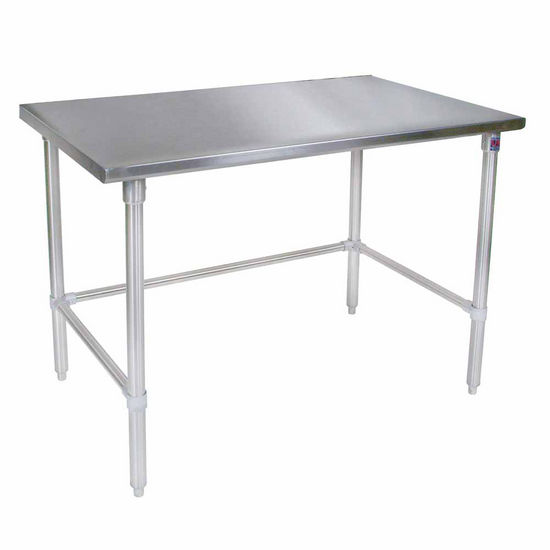 John Boos Stainless Steel Work Table w/ Galvanized Bracing & Legs, Flat Top