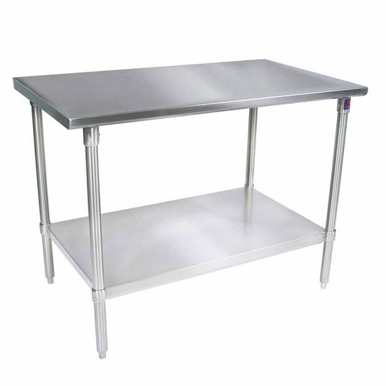 John Boos Stainless Steel Work Table w/ Galvanized Base, Shelf & Legs, Flat Top