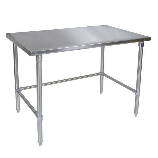 John Boos Stainless Steel Work Table w/ Stainless Steel Bracing & Legs, Flat Top