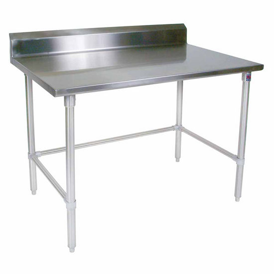 "John Boos Stainless Steel Work Table w/ Galvanized Bracing & Legs, & 5"" High Rear Riser"