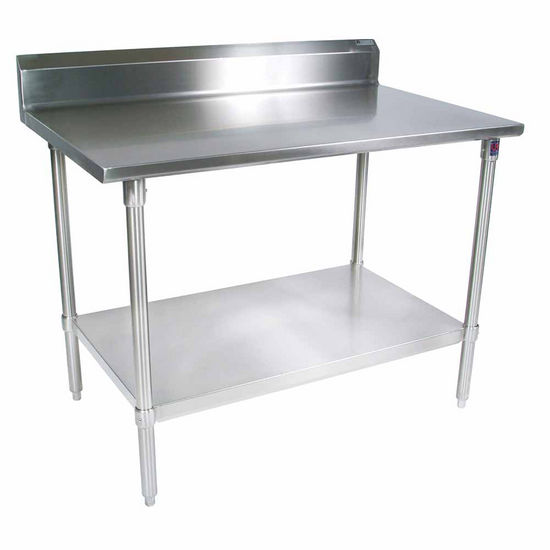 "John Boos Stainless Steel Work Table w/ Galvanized Base, Shelf & Legs, & 5"" High Rear Riser"