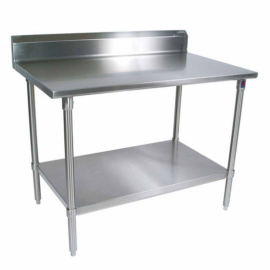 "John Boos Stainless Steel Work Table w/ Stainless Steel Base, Shelf & Legs, & 5"" High Rear Riser"