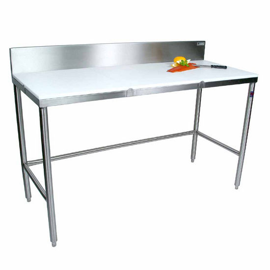 "John Boos Poly Top Work Table w/ Stainless Steel Base & Bracing & 6"" High Removable Rear Riser"
