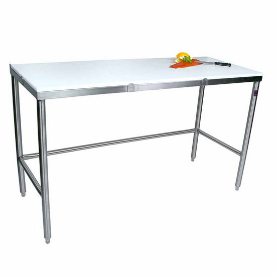 John Boos Poly Top Work Table w/ Stainless Steel Base & Bracing & Flat Top