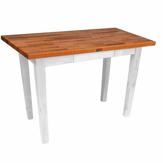 "John Boos Oak Table Boos Block, 60""W x 25""D x 35""H, Without Shelf, Alabaster"