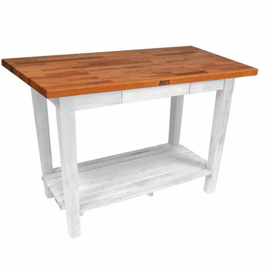 "John Boos Oak Table Boos Block, 36""W x 25""D x 35""H, With 1 Shelf, Alabaster"
