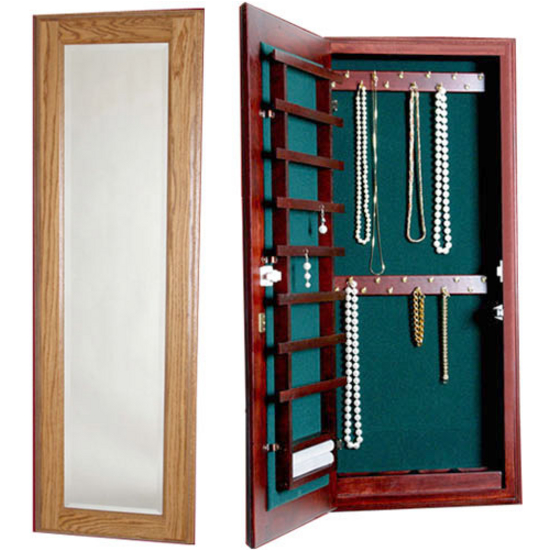 Small Wood Jewelry Cabinet With Mirror and Lock