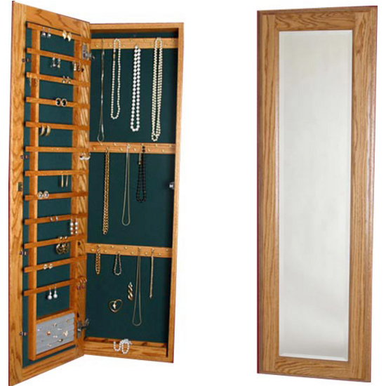 Large Wood Jewelry Cabinet With Mirror And Lock