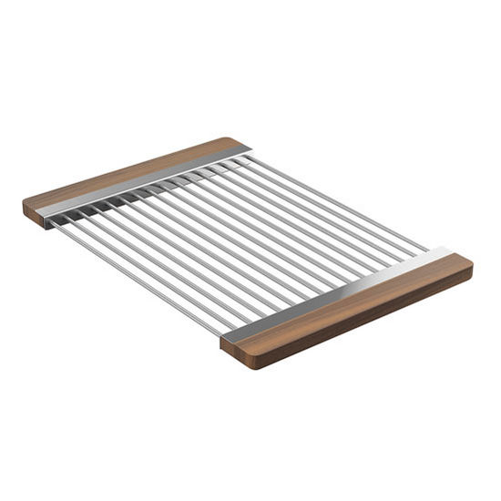 "JULIEN Smartstation Collection Drying Rack with Walnut Handles for Fira Collection Kitchen Sink in Brushed Stainless Steel, 12"" W x 17-3/8"" D x 3/4"" H"