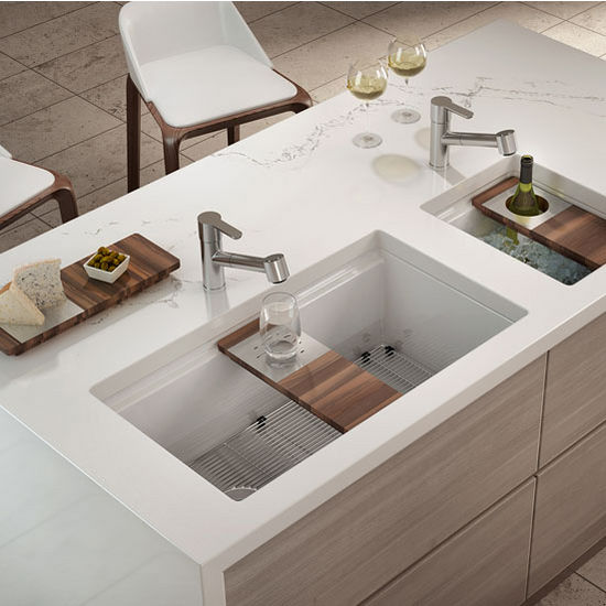 Fira Collection Single Undermount Fireclay Kitchen Sink w/ Ledge ...