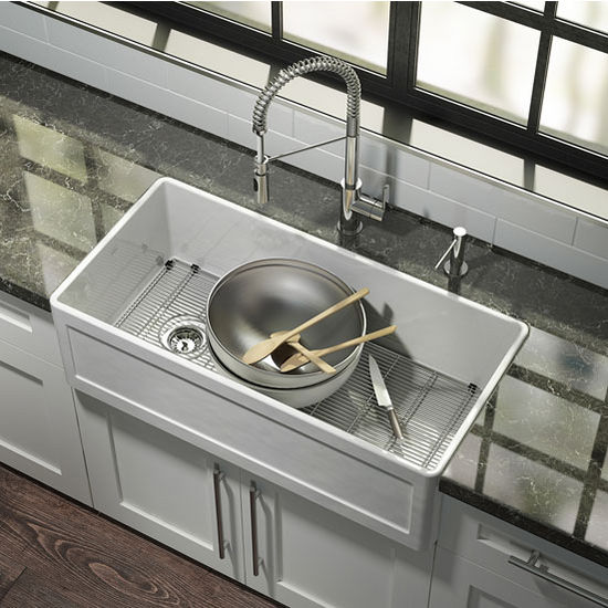 Fira Collection Single Undermount Fireclay Kitchen Sink W