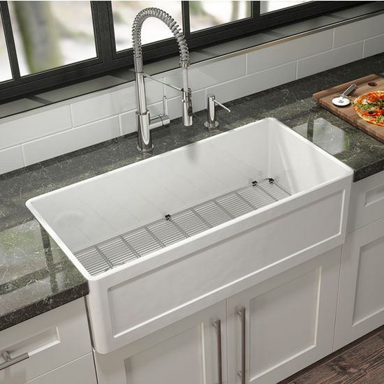 Fira Collection Single Undermount Fireclay Kitchen Sink w ... on kohler fireclay sinks, white undermount bar sinks, single bowl kitchen sinks, elkay fireclay sinks, franke fireclay sinks, rohl sinks, ferguson sinks, square undermount bathroom sinks, stainless steel kitchen sinks,