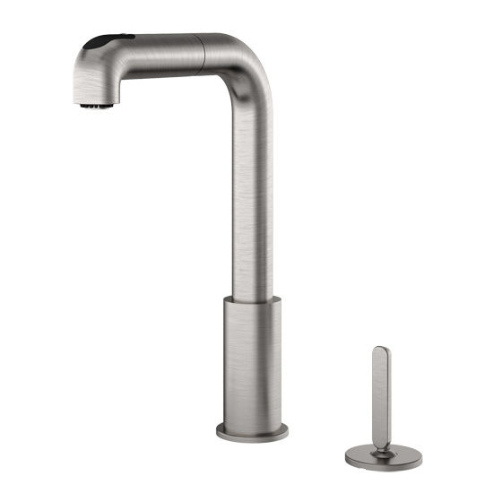 Julien Latitude Pull Out Kitchen Faucet with Dual Spray & Remote Single Lever, Brushed Nickel