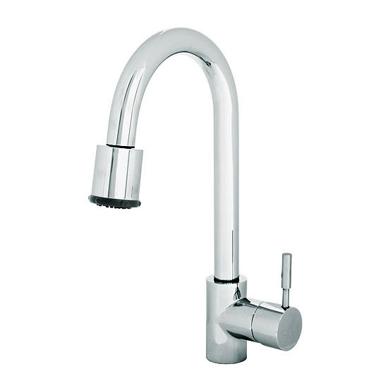 "JULIEN Azur Polished Chrome Kitchen Faucet, 8""D x 15-3/4""H"
