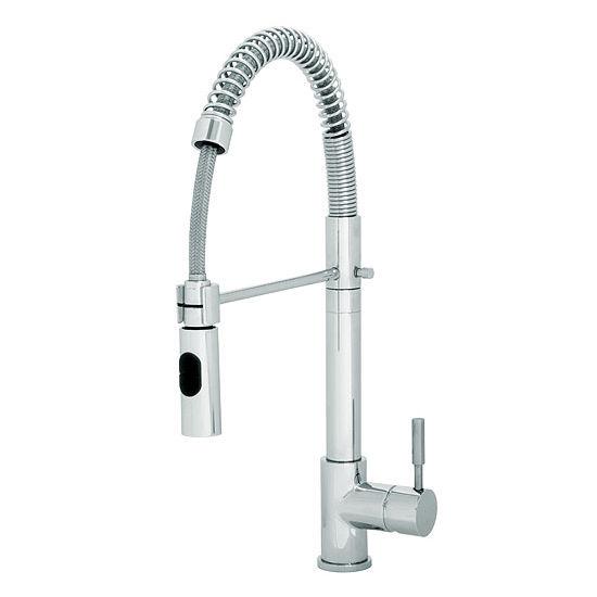 """JULIEN Wave Polished Chrome Kitchen Faucet, 9""""D x 18-1/2""""H"""