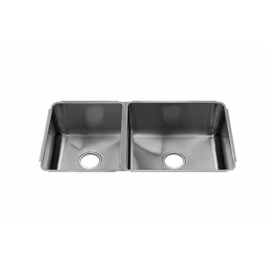 JULIEN Classic Collection Undermount Sink with Double Bowl, Larger Right Bowl, 16 Gauge Stainless Steel