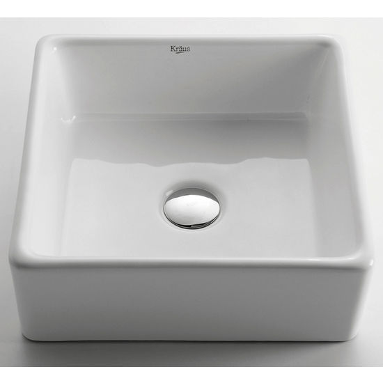 Kraus White Square Ceramic Sink