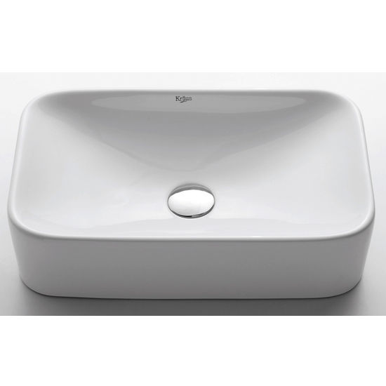 Kraus White Rectangular Ceramic Sink