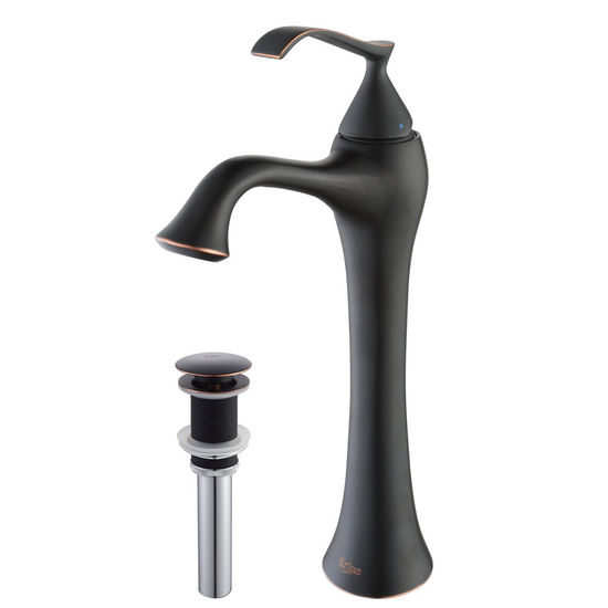 "Kraus Ventus Oil Rubbed Bronze Single Lever Vessel Faucet with Pop Up Drain, 12-1/2""H"