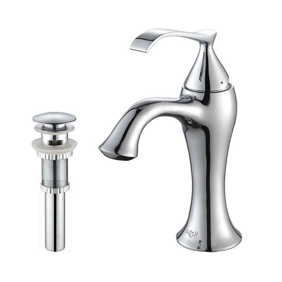Kraus Ventus Chrome Single Lever Basin Faucet and Pop Up Drain with Overflow