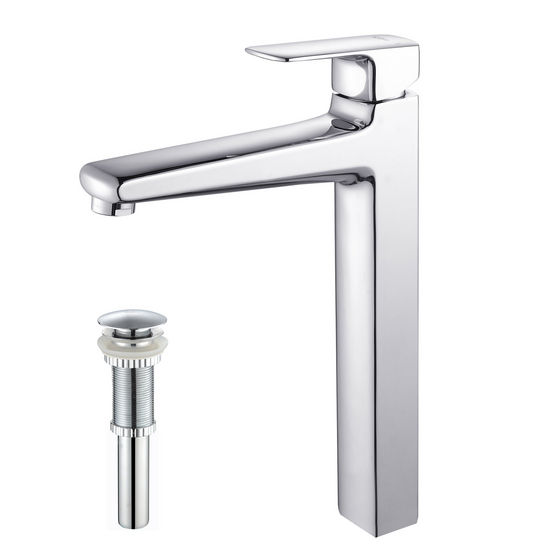 Kraus Virtus Chrome Single Lever Vessel Faucet with Pop Up Drain