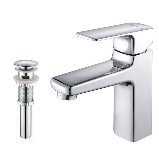 Kraus Virtus Chrome Single Lever Basin Faucet and Pop Up Drain with Overflow