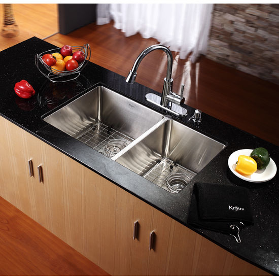 Kitchen Sink 19 X 33: Kraus Undermount 70/30 Double Bowl 16 Gauge Stainless