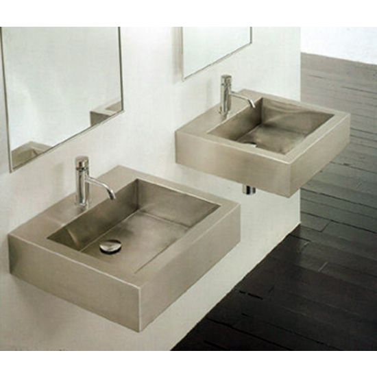 Cantrio Koncepts Stainless Steel Square Vessel Bathroom Sink 17 5 8 W X 17 5 8 D X 4 7 8 H 18 Gauge