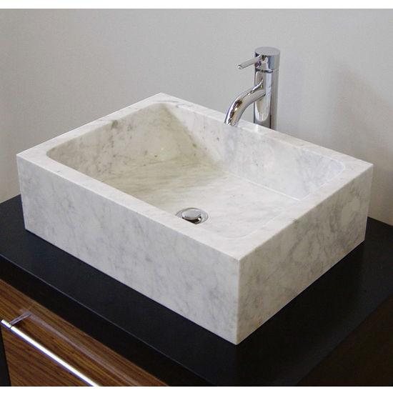Cantrio Koncepts Bianco Carrera Stone Vessel Bathroom Sink