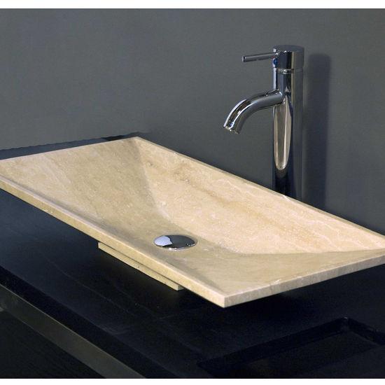 Cantrio Koncepts Travertine Stone Vessel Bathroom Sink