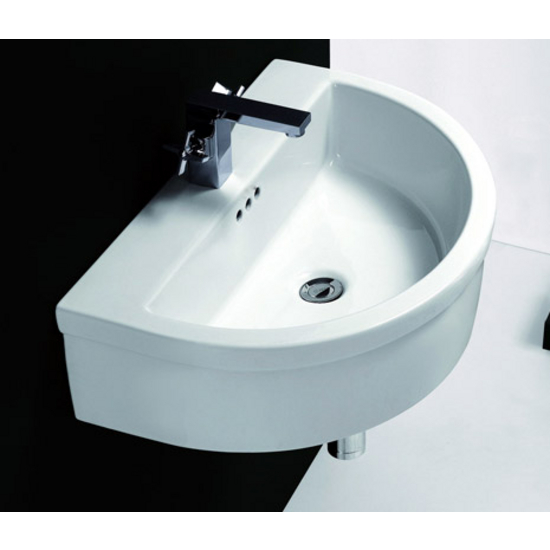 Cantrio Koncepts Ceramic Wall Hung Semi-Round Vessel Bathroom Sink