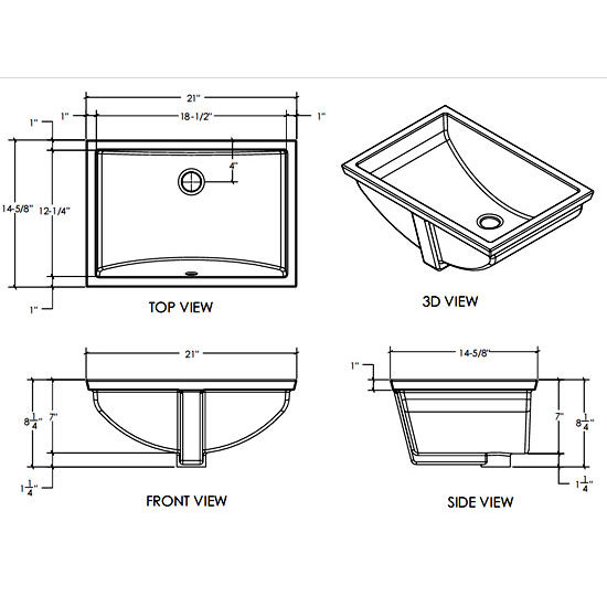 Bathroom Sink Measurements : Bathroom-Sinks - Vitreous China Rectangular Bathroom Sink - Undermount ...