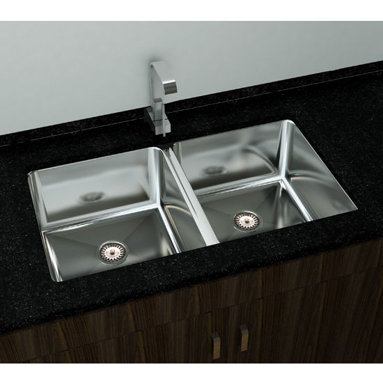 "Cantrio Koncepts Double Basin Under-Mount Sink, 18-Gauge 304-Series Stainless Steel (18/10), 10mm Radius with Strainer Drain, 29""W x 18""D x 9""H"