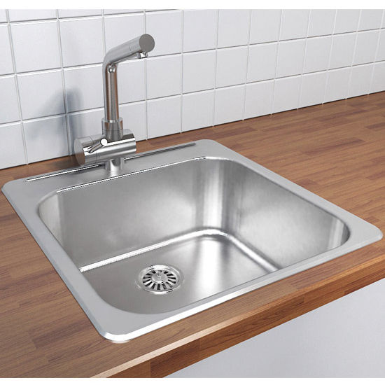 cantrio koncepts stainless steel single bowl overmount kitchen sink 304 stainless steel 18 gauge 20w x 20 12d x. beautiful ideas. Home Design Ideas