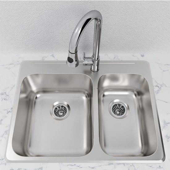 Cantrio Koncepts Stainless Steel 1-1/2 Bowl Overmount Kitchen Sink ...