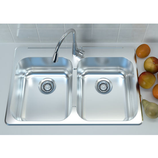 Cantrio Koncepts Stainless Steel Double Bowl Overmount Kitchen Sink ...