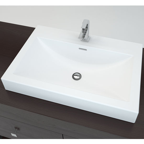 "Cantrio Koncepts Solid Surface Countertop Sink with Deck Mount Hole and Overflow, 25""W x 16-1/2""D x 5-3/8""H"