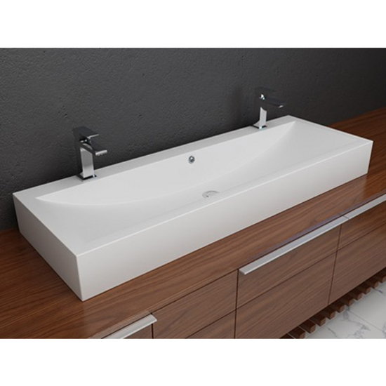 Cantrio koncepts cast polymer vessel double countertop bathroom sink featuring a solidtech for Double sink countertop bathroom