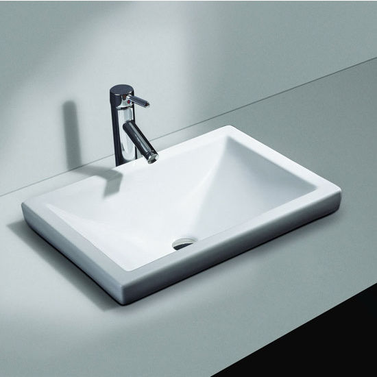 Contemporary Kitchen Designed With Undermount Sink And Led: Cantrio Koncepts Vitreous China Semi Recessed Bathroom