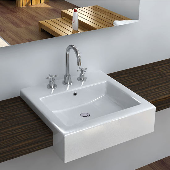 Cantrio Koncepts Vitreous China Semi Cassa Bathroom Sink