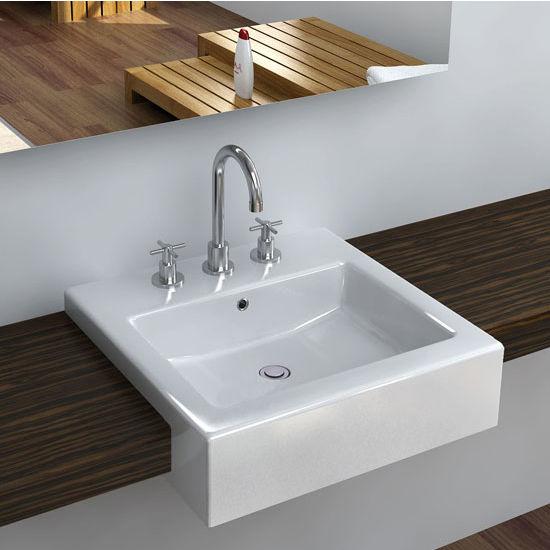 Cantrio Koncepts Vitreous China Semi Cassa Bathroom Sink