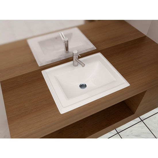 "Cantrio Koncepts Vitreous China Drop-In Sink with Knockout Holes and Overflow , 23""W x 18""D x 8-3/4""H"