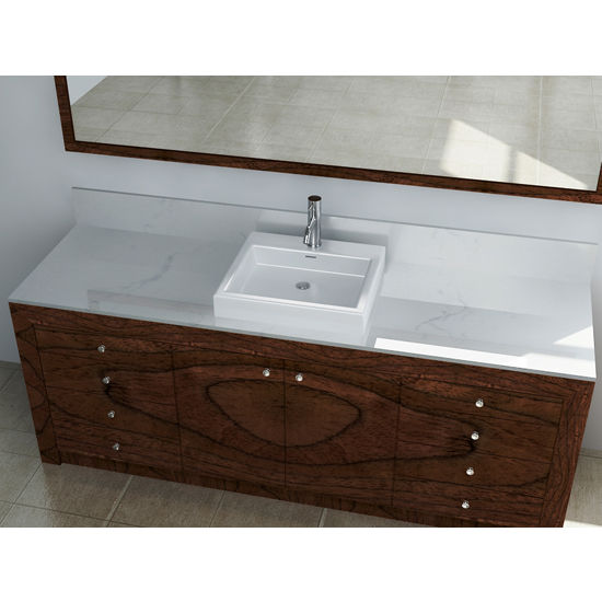 "Cantrio Koncepts Vitreous China Countertop Sink with Knockout Holes and Overflow, 19""W x 17-5/16""D x 4-1/2""H"