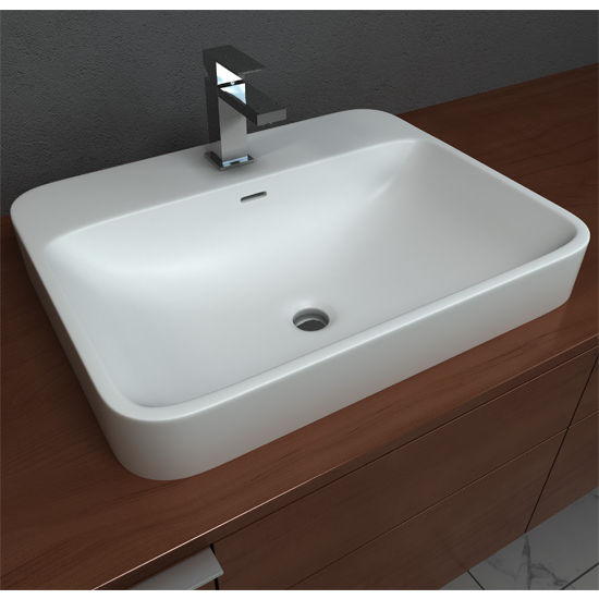 Cantrio Koncepts Semi Recessed Bathroom Sink With Rounded Edges Solid Surface 23
