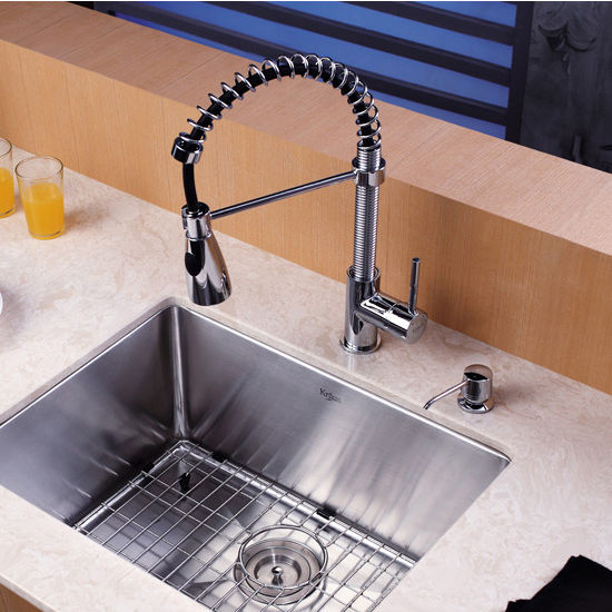 kraus chrome or stainless steel pull out sprayer kitchen faucet with