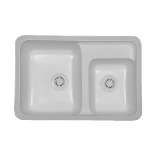 Karran Landin Double Bowl Under Mount Sink w/ an Integrated & Reccessed Faucet Deck
